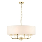 Endon Lighting Nixon 6lt pendant brass 70561