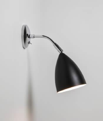 joel wall light in polished chrome with black shade