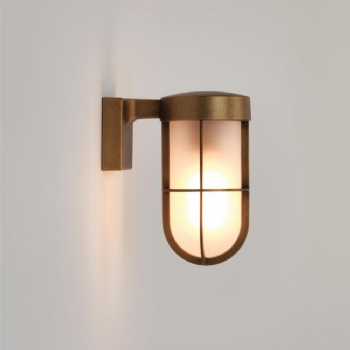 Astro Cabin antique brass frosted wall light 7850