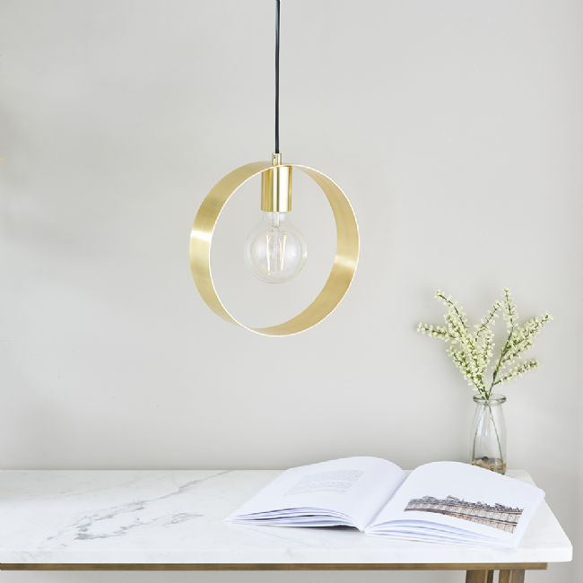 Endon Hoop 1 light Pendant brushed brass