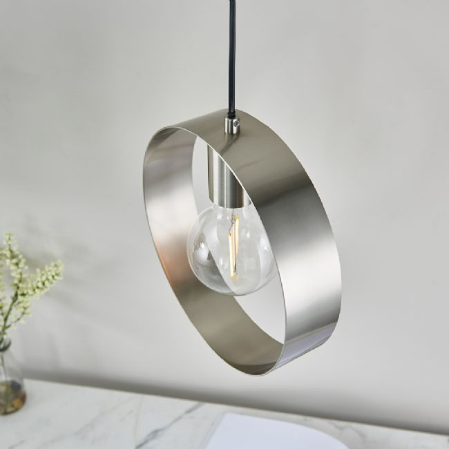 endon lighting hoop single pendant brushed nickel