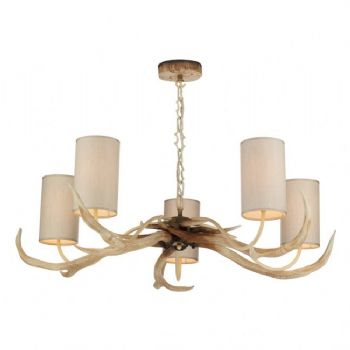 David hunt Antler 5 Light Bleached pendant