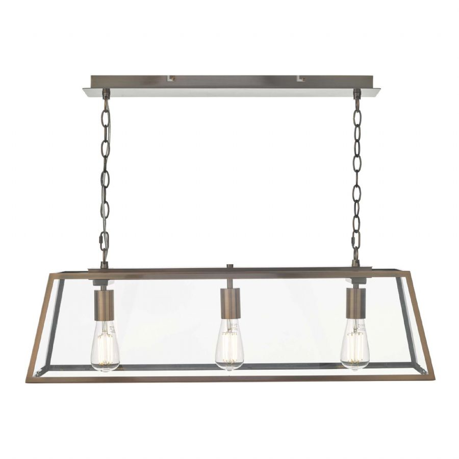 Dar Lighting Academy 3 Light Bar Pendant Copper ACA0364