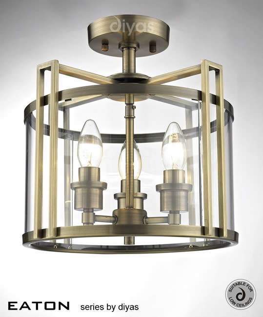 Diyas Eaton 3 light flush lantern IL31080