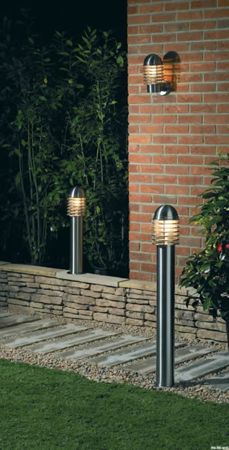 Endon Lighting YG-6003SS outdoor bollard light in stainless silver