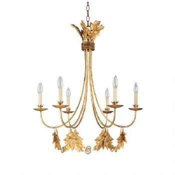 Elstead Flambeau Sweet Olive 6lt Chandelier in Gilded Gold