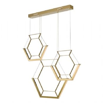 Dar Lighting Hexagon 3lt pendant bar gold hex0335