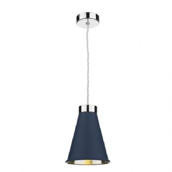 David Hunt Hyde chrome pendant blue HYD0123C