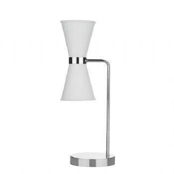 David Hunt Hyde chrome table lamp white HYD4202C