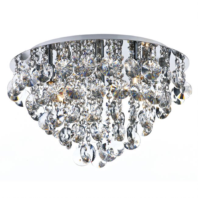 Dar Lighting Jester 5 light crystal flush JES5440