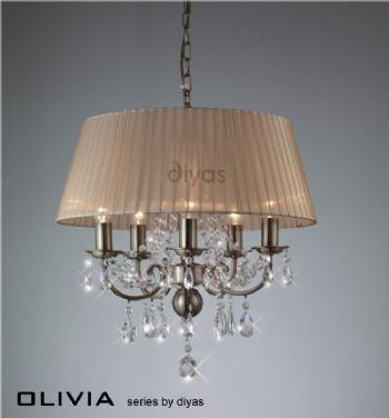 Diyas Olivia antique brass 5 light IL30047