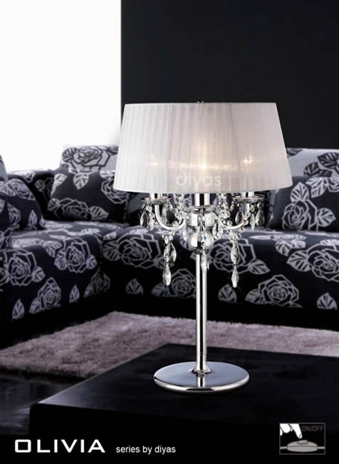 Diyas Olivia chrome table lamp IL30062