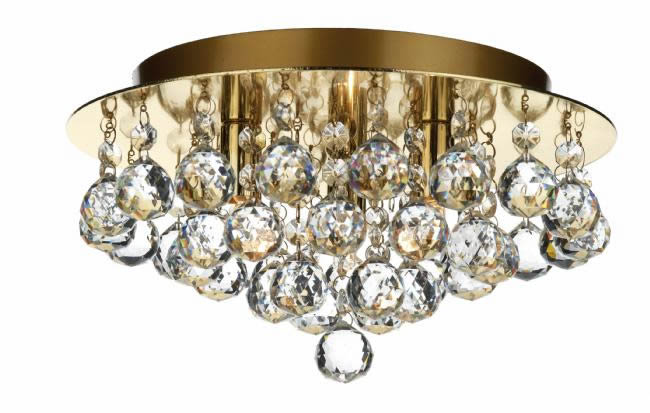 Dar Lighting Pluto 3 light crystal flush PLU5250