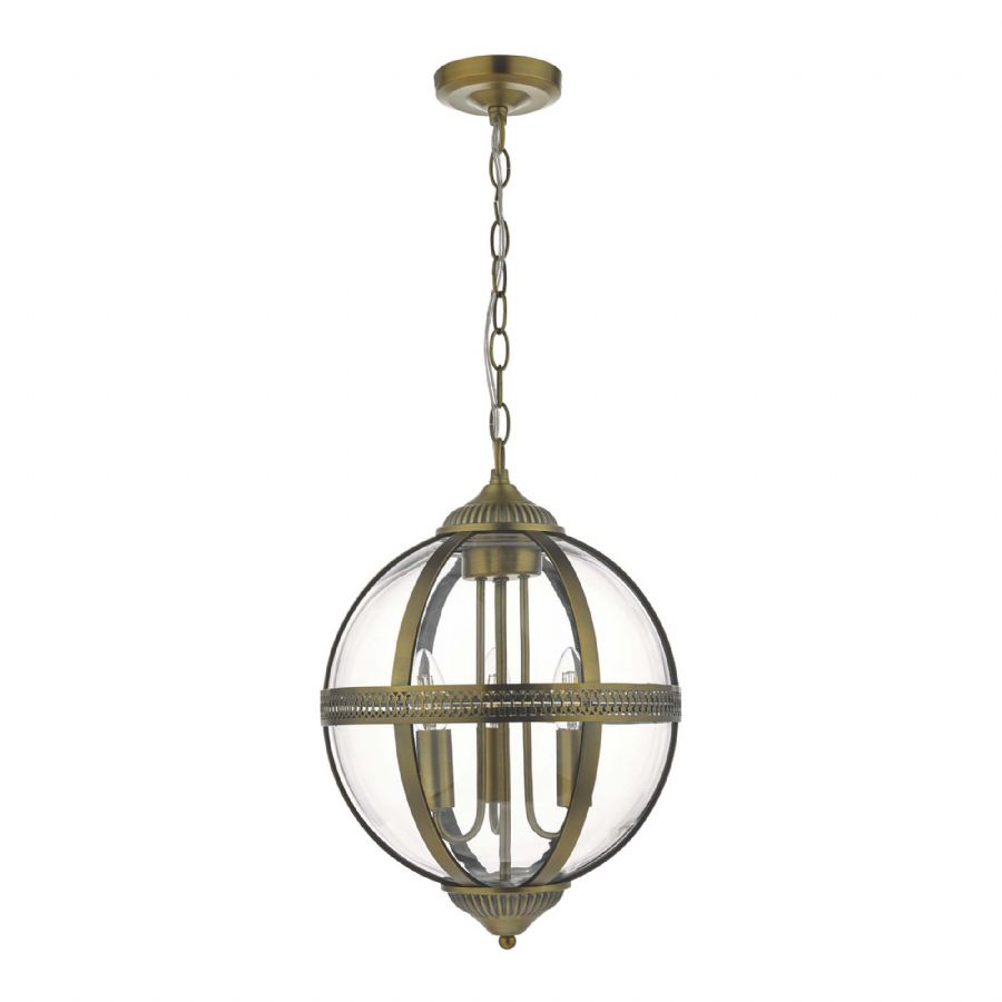 Dar Lighting Vanessa 3 Light Lantern Brass VAN0375