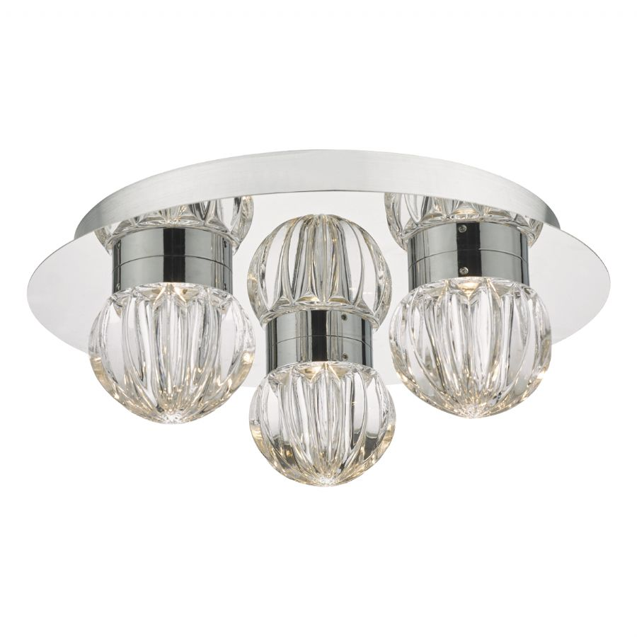 Dar Lighting Zondra 3 light bathroom flush ZON5350